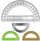 Set of Protractors for Drafting and Engineering. Detailed vector illustration of protractors used in drafting and engineering, with measurement markings and Royalty Free Stock Photo
