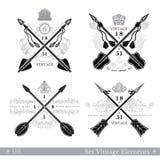 Set przecinające strzała z deseniowym elementem Modnisia rocznika stylu szablony dla biznesu, etykietki, logowie, tożsamość, odzn Fotografia Royalty Free