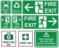 Set przeciwawaryjny pożarniczy wyjście, przeciwawaryjny zgromadzenie teren, pierwsza pomoc, ilustracja wektor