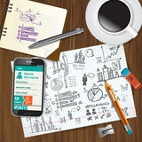 Set przedmioty dla biznesmena na drewnianym tle ilustracji
