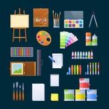 Set przedmioty dla sztuki piękna, artystyczna aktywność, sfera projektant Zdjęcia Stock
