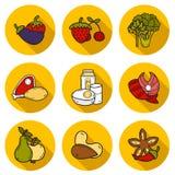 Set przedmioty w ręka rysującym stylu na paleo diecie ilustracji