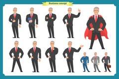 Set przedstawia w różnorodnej akci biznesmen Szczęśliwy mężczyzna w garniturze ilustracja wektor