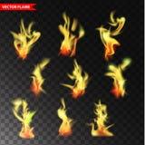 Set przejrzyści płomieni wektory Obraz Royalty Free