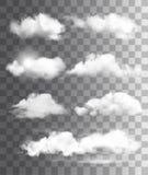 Set przejrzyste różne chmury wektor ilustracji