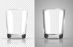 Set przejrzyste szkło czara, Przejrzystej fotografii realistyczna wektorowa ilustracja Zdjęcie Stock