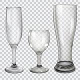 Set przejrzyste szklane czara Zdjęcie Royalty Free