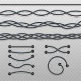 Set przeplatani kabli warkocze i druciani ściegi, nowożytni elektryczni kable w linii prostej wyginającej się fala i przekręcając royalty ilustracja