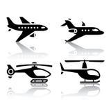Set przewiezione ikony - Airbus i helikopter royalty ilustracja