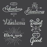 Set przygody i podróży wektorowy literowanie dla kartka z pozdrowieniami, Obraz Royalty Free