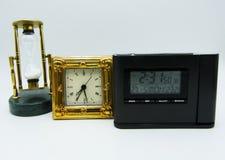 Set przyrząda mierzyć czas na białym tle fotografia royalty free