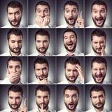 Set przystojny emocjonalny mężczyzna Obrazy Royalty Free