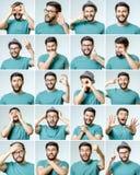 Set przystojny emocjonalny mężczyzna Obrazy Stock
