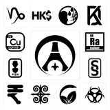 Set of psg, contagion, vegan vs vegetarian, , rupees, paragraf, mens bathroom, radium, copper icons. Set Of 13 simple editable icons such as psg, contagion Stock Images