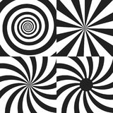 Set of Psychedelic spiral with radial rays. Twirl, twisted comic effect, vortex backgrounds. Vector Design elements Stock Photo