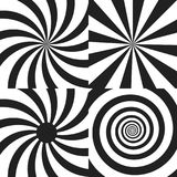 Set of Psychedelic spiral with radial rays, twirl, twisted comic effect. Set of Psychedelic spiral with radial rays, twirl, twisted comic effect, vortex Stock Photography