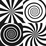 Set of Psychedelic spiral with radial rays, twirl, twisted comic effect, vortex. Backgrounds. Vector Design elements Stock Images