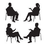Set of psychologist and the client. Psychotherapy. Psycho therapeutic session. Psychological counseling. Man woman Royalty Free Stock Photo