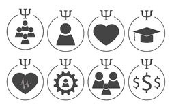 Set of psychology symbols. In grey colors. Different subdisciplines icons royalty free illustration