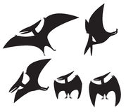 Set of Pterodactyl silhouette Royalty Free Stock Images