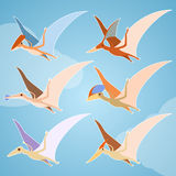 Set of pterosaurs. Vector image of a set of diffirent pterosaurs Stock Images
