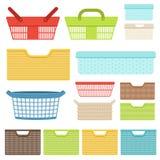 Set puści plastikowi zbiorniki i kosze dla sklepów lub łazienki Plastikowi pudełka dla pralni i magazynu przedmioty royalty ilustracja