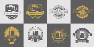 Set of pub, brewery, craft beer, brewhouse and beer labels, logos, badge and other design. Gray and gold vector Royalty Free Stock Photos