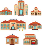Set of public building Stock Images