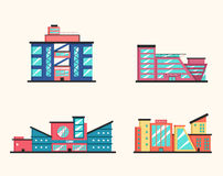 Set of public buildings. Modern architecture. Flat vector illustration. Royalty Free Stock Photography