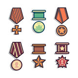 Set of public commemorative award medals. Set of public commemorative medals. Element awards for day of defenders of fatherland. Modern colorful flat outline Royalty Free Stock Photo