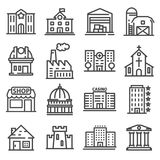 Set of public, government andcommercial city buildings and institutions. Set of public, government and commercial city buildings and institutions. Vector Royalty Free Stock Images