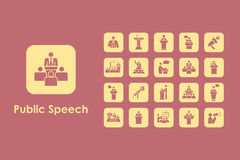 Set of public speech simple icons Stock Photos