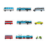 Set of public transport color icons Stock Photography
