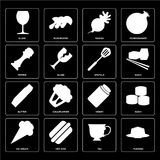 Set of Pudding, Tea, Ice cream, Honey, Butter, Spatula, Pepper,. Set Of 16 icons such as Pudding, Tea, Hot dog, Ice cream, Sushi, Glass, Pepper, Butter, Spatula Royalty Free Illustration