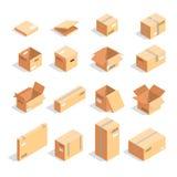 Set pudełka w isometric widoku odizolowywającym na białym tle Zdjęcie Royalty Free