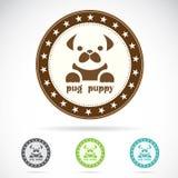 Set of pug puppy label. On white background stock illustration