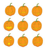 Set of pumpkin emoticons Royalty Free Stock Photos