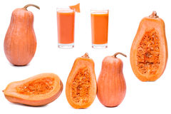 Set pumpkin fresh glass of juice and half sliced squash isolated on a white background Royalty Free Stock Images