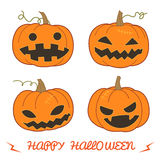 Set of pumpkin for Halloween (Jack 'O Lantern) in various styles Stock Photography