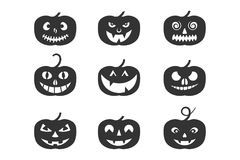 Set of Pumpkin Halloween logo, sign, symbol. Silhouette design. stock photography