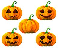 Free Set Pumpkin Halloween Watercolor Painting Illustration Design White Isolated Clipping Path Stock Photography - 160634062