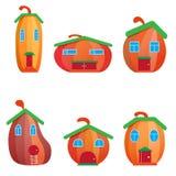 Set pumpkin house stock illustration