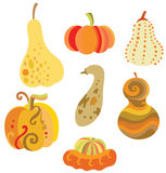 Set of Pumpkins. Collection of fun pumpkins with various shapes Royalty Free Stock Photo
