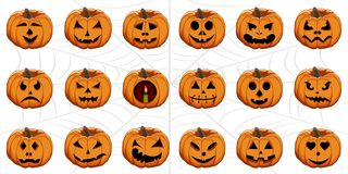 Set from pumpkins for celebrating holiday halloween vector illustration