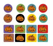 Set of pumpkins. For colorful buttons, labels, decorations and many other uses Royalty Free Stock Photo