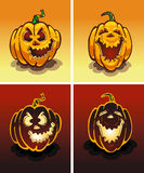 Set of pumpkins, day and night, on Halloween Royalty Free Stock Photography
