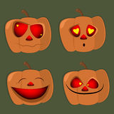Set of pumpkins of different characters halloween  face , vecto Royalty Free Stock Images