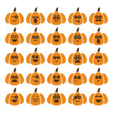Set of pumpkins with different emotions Stock Images