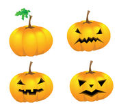 Set of pumpkins with faces for Halloween, isolated Royalty Free Stock Photos