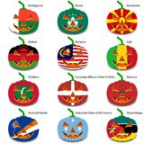 Set pumpkins for Halloween as a flags of the world Royalty Free Stock Image